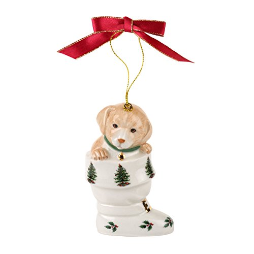 Boot Christmas Stocking - Spode Christmas Tree Ornament, Puppy in Boot