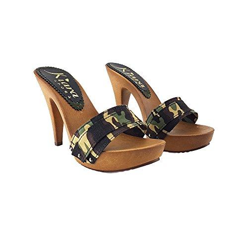 72 lavorative shoes Ore e Cap 48 in Camouflage K21301 Italia Camouflage 11 Zoccolo remoti 24 Isole kiara cm Tacco Consegna Ore 6xqZZOw