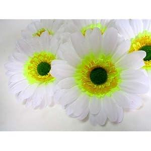 "(12) BIG Silk White Gerbera Daisy Flower Heads , Gerber Daisies - 3.5"" - Artificial Flowers Heads Fabric Floral Supplies Wholesale Lot for Wedding Flowers Accessories Make Bridal Hair Clips Headbands Dress 79"