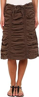 XCVI Womens Stretch Poplin Double Shirred Panel Skirt