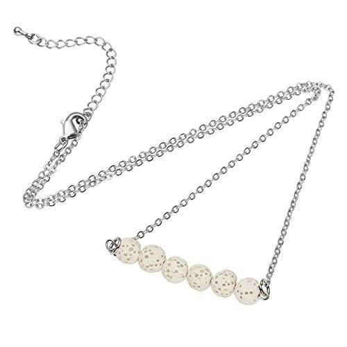 Jovivi Essential Oil Diffuser Necklace Natural Lava Rock Stone Beads Bar Pendant w/Gift Box