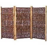 Mobiler Paravent für Garten, Terrasse und Balkon im Maß 180 x 120 cm ( Breite x Höhe ) - dreiteilig mit einer Flügelbreite von ca 60 cm - aus geölten und geflochtenen Weidenruten auf einem gebeizten Kiefernholzrahmen