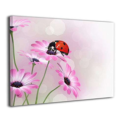 Achujuyou Canvas Prints Giclee Ready to Hang for Home Decoration- Ladybug and Pink Flowers Frameless Wall Art D¨¦cor Paintings for Bedroom Office Decorations 16