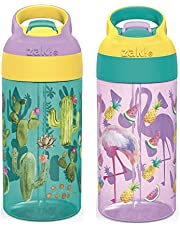 Zak Designs 16oz Riverside Desert Life Kids Water Bottle with Straw and Built in Carrying Loop Made of Durable Plastic, Leak-Proof Design for Travel, 2PK Set