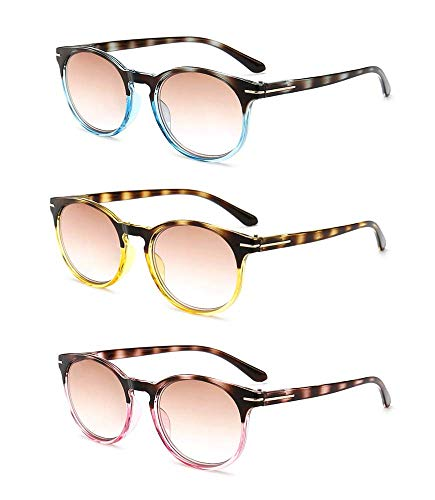 - Amillet 3 Pairs Value Pack Tinted Reading Glasses Spring Hinges Sun Readers for Men and Women +3.50