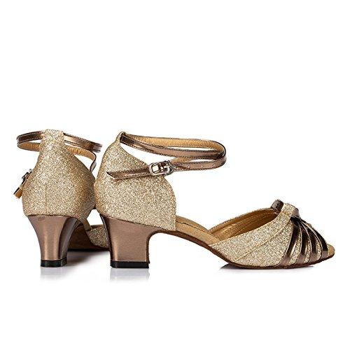 Miyoopark Kvinna Vet Glitter Latin Tango Salsa Dansskor Bröllopsfest Sandaler Guld 5cm Häl