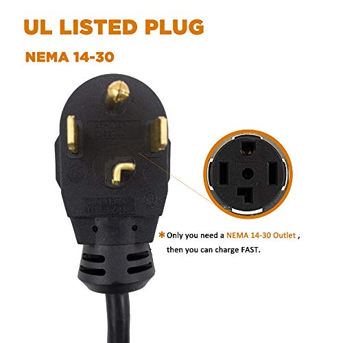 MUSTART Level 2 Portable EV Charger (240 Volt, 25ft Cable, 26 Amp), Electric Vehicle Charger Plug-in EV Charging Station with NEMA 14-30P by MUSTART (Image #4)