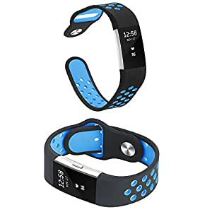 SAG Fitbit Charge 2 Bands Sport Silicone Large Replacement Breathable Sport Bands with Air Holes for Fitbit Charge 2 Women Men Blue,Pink,Purple,White,Black(Black - Blue, Large)
