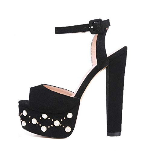 Onlymaker Women's Heeled Sandals Platform Stud and Pearl Embellishment Block Chunky Heels Ankle Strap Peep Toe Pumps Dress Party Shoes Black Studded 9 M US