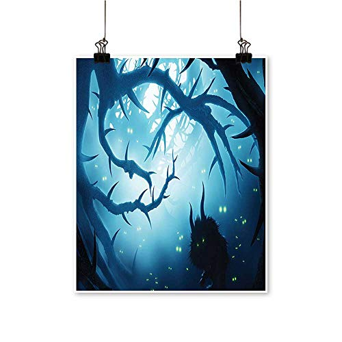 for Home Decoration Animal with Burning Eyes in Dark Forest at Night Horror Halloween Illustration for Home Decoration No Frame,20