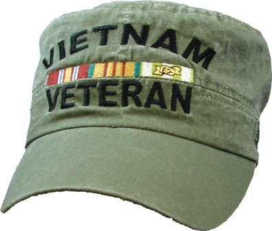 Vietnam Veteran OD Green Embroidered Flat Hat w/Ribbons - Veteran Owned Business