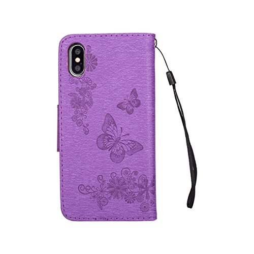 iPhone X Hülle,iPhone X/10 Lederhülle,Mo-Beauty® Malerei Schmetterling Butterfly Muster Ledertasche PU Leder Hülle Flip Tasche Wallet Case Cover HandyHülle Brieftasche mit Standfunktion Karteneinschub Lila