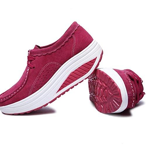 EU de de Mujeres Transpirables tamaño para Qiusa 39 Zapatillas Sole Rocker Plataforma Deporte de Deporte de Color Rojo Negro Zapatillas zPx05qT