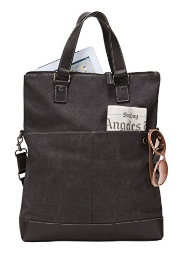 Bellino the Noble Fold-Tablet/iPad Over Canvas Leather Tote Bag (Over Tab Fold)