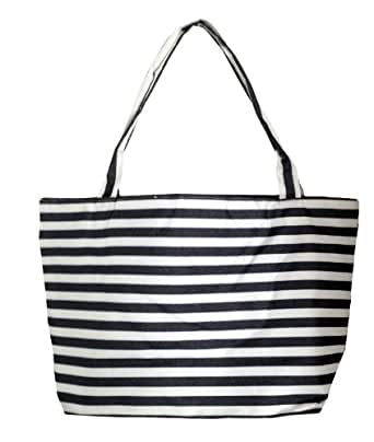 "X Large Striped Lined Beach Tote Bag 23""w By 13""h By 6""d (Black)"