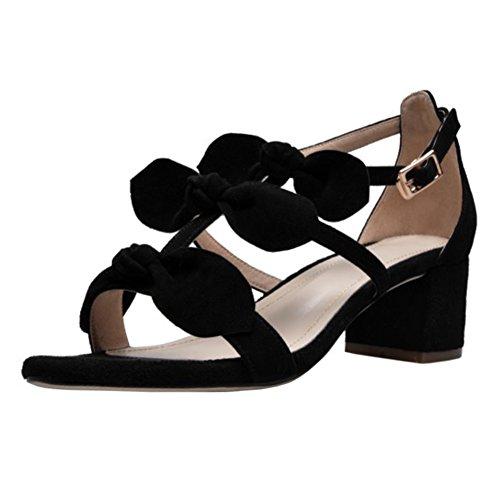 VOCOSI Women's Sweet Classic Block Heel Leather Sandals Black