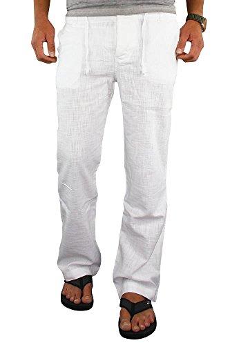 Merish Herren Leinenhose Leinen Hose Chino Jeans Sommerhose Strandhose 69 Weiß W34