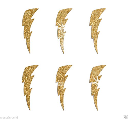 Bolt Lighting (24 Gold Lightning Bolt Self Adhesive Glitter Stickers Card making craft diy 1 inch)
