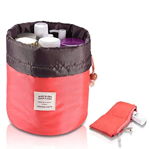 Travel Cosmetic Bags Barrel Makeup Bag,Women &Girls Portable Foldable Cases,Euow Multifunctional Toiletry Bucket Bags Round Organizer Storage Pocket Soft Collapsible,Waterproof. (Rosered)