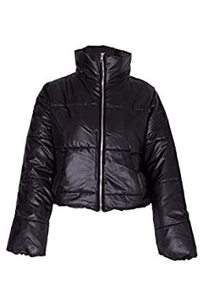 NOROZE Womens Crop Jacket Padded Puffer Coat Cropped (Black, 8)