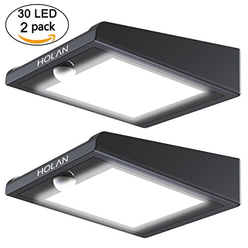 2 Pack 30 LED Solar Lights, Mulcolor Solar Solar Powered Security Lights Wireless Solar Lights Rechargeable Waterproof Wall Light with PIR Sensor for Garden, Patio Backyard and Pathway by Mulcolor