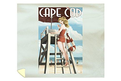 Lantern Press Cape Cod, Massachusetts - Lifeguard Pinup Girl 37062 (88x104 King Microfiber Duvet Cover) ()