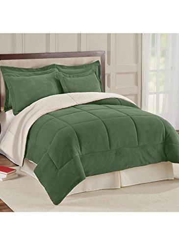 Carol Wright Gifts Reversible Fleece/Sherpa Comforter - Sham, Color Hunter Green, Hunter Green
