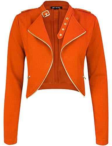 (Michel Womens Fleece Jacket Classic Crop Rider Zip UP Jacket Orange Meedium)