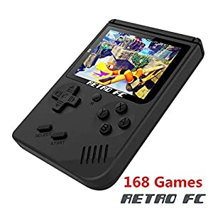 JFMAX Handheld Game Console, Game Console 3 Inch 168 Games Retro FC Game Player Classic Game Console 1 USB Charge, Birthday Presents for Children - Black