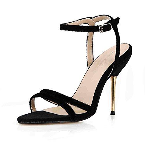 ZHZNVX Sandales femme été nouvelles repasser sexy suede ceintures minimaliste intéressant banquet avec fer à repasser femme chaussures, ceintures et chaussures qui ont été lattice black suede 3d6fd91 - reprogrammed.space