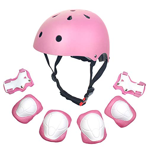 Sarik Kids Outdoor Multi-Sports Protective Gear Set Boys and Girls Helmet Knee Elbow Wrist Safety Pads for Cycling, Rollerblades, Scooter, Skateboard, Bicycle, Rollerblades(3-10 Years Old) (Pink)
