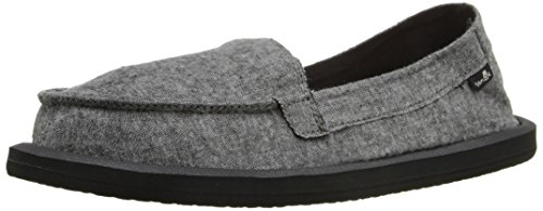 Sanuk Frauen Shorty TX Flat Holzkohle Chambray
