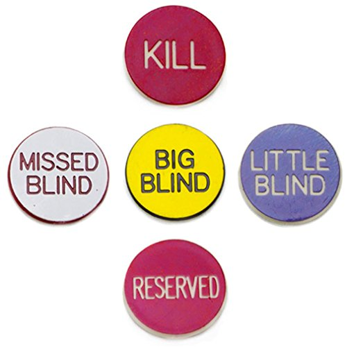 1'' Poker Button Combo Pack (Little, Big, Kill, Miss, Reserve) by (Blind Timer)