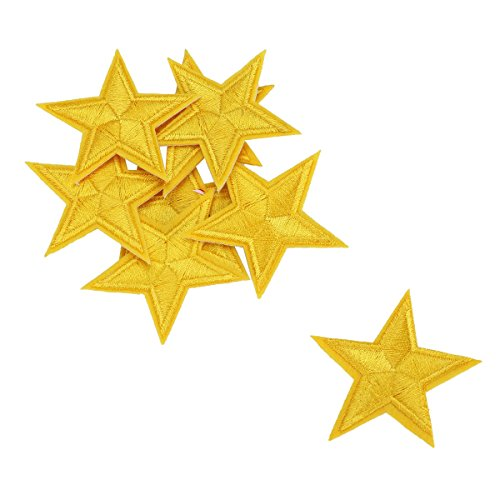 HOUSWEETY 10pcs Yellow Star Embroidered Iron On / Sew On Badge Applique Patch (Applique Star)