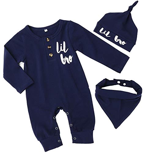 Baby Boy Little Brother Clothes Newborn Long Sleeve Romper Jumpsuit Hat Bibs Coming Home Outfit