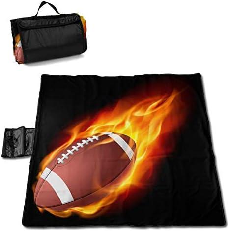 Olie Cam Football Americano in The Fire Coperta da Picnic con stuoia per Picnic all'aperto Impermeabile, Realizzata a Mano
