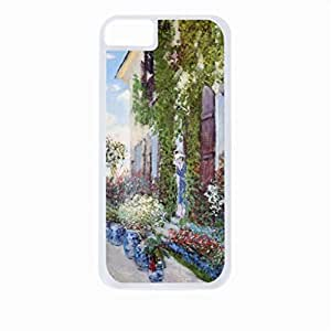 Claude Monet-The Artists House at Argenteuil- Case for the Apple iphone 6 4.7 Universal-Hard White Plastic Outer Shell with Inner Soft Black Rubber Lining