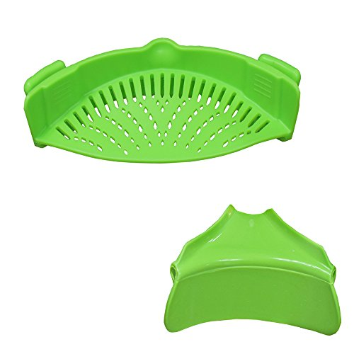 Strain Pan Strainer,Clip-on Silicone Strainer with Slip-On Bowl Pour Spout BPA Free 100% non-toxic For Draining Food While Cooking Or Pouring Liquid, Universal Size Fits Most Pans Pots Bowls