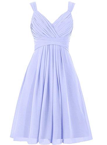 V Chiffon Cocktailkleider Lavendel Partykleider Brautjungfernkleider Kurz Ballkleider Ausschnitt Linie A 0E1qn
