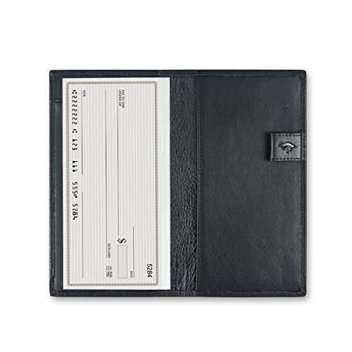Fabric Black Checkbook Cover (Ikepod Deluxe Checkbook Cover with free Divider [ Italy Made // Top Leather ] Both for Men and Women [RFID Blocking and Free 1pc Divider ])