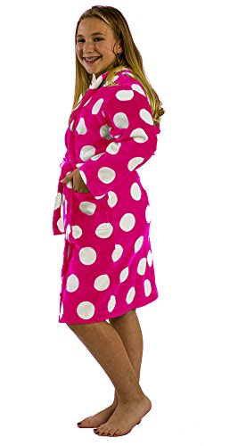 byLora Polka Dot Teenagers Girls Spa Towel Bathrobe for Spa Sauna, Fuchsia, - Bottoms Apple Velour