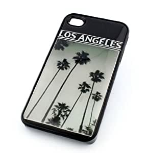 BLACK Snap On Case iPhone 5c Plastic Cover - OLD SCHOOL LOS ANGELES cali palm trees la black and white vintage california dreaming