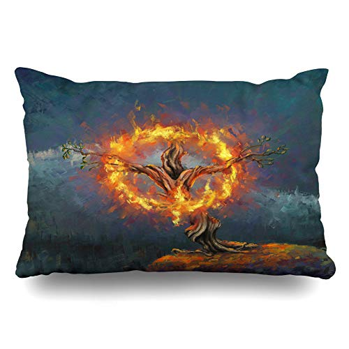 Ahawoso Throw Pillow Cover Queen 20x30 Story Blue Moses God Burning Bush Digital Painting Holy Burn Red Israel Oil Bible Mount Nature Cushion Case Home Decor Pillowcase]()