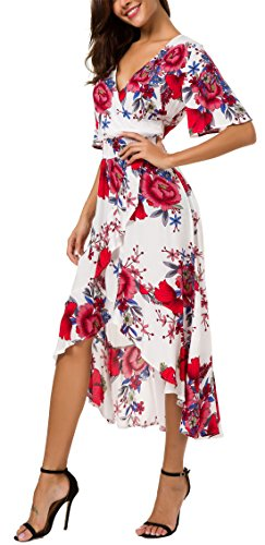 KorMei Womens Short Sleeve Floral High Low V-Neck Flowy Party Long Maxi Dress L White