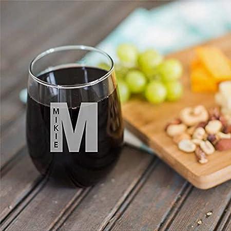 Copa de vino sin tallo personalizada divertida de 15 onzas con nombre en letra copa de vino transparente para vino tinto y blanco