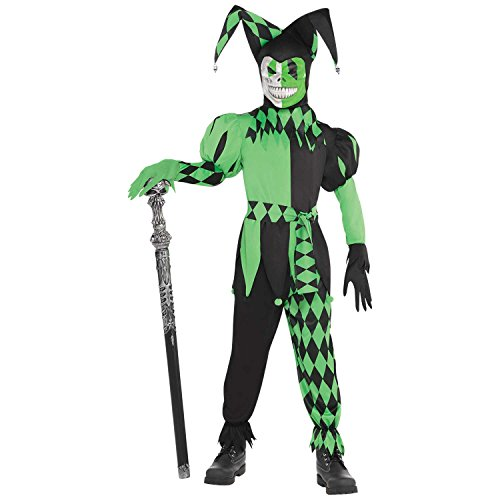 Amscan 847677 Boys Green Wicked Jester Costume - Medium (8-10), -