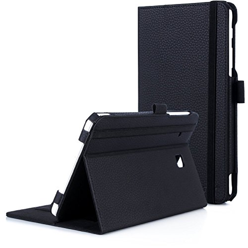 FYY Case for Galaxy Tab E 8.0 - Premium PU Leather Case Stand Cover with Card Slots, Note Holder, Elastic Strap for Samsung Galaxy Tab E 8.0 4G LTE SM-T377 Tablet Black