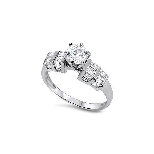 (.925 Sterling Silver Bar Set Baguette Cubic Zirconia Engagement Ring - Size 10)