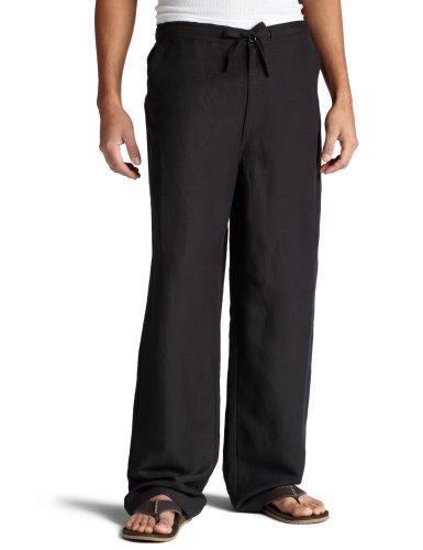 Cubavera Men's Drawstring Pant with Back Elastic Waistband, Black, Large/32