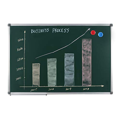 Aluminum Chalkboard Frame Steel - Large Magnetic Chalkboard for School Office - 4 THOUGHT 48X36 inch Green Magnetic Chalk Board Wall-Mounted Bulletin Board with Aluminium Frame and Removable Marker Tray